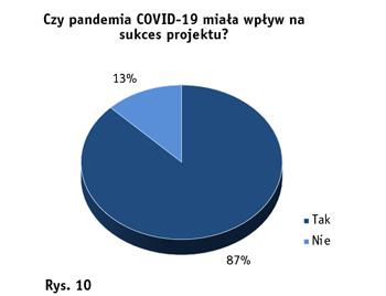 Kreisdiagramm zur Auswirkung der Corona-Pandemie auf das Projekt